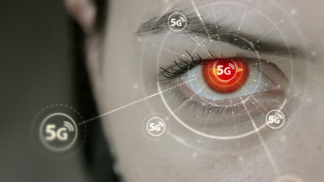 Young-cyborg-female-blinks-then-high-speed-5G-symbols-appears-
