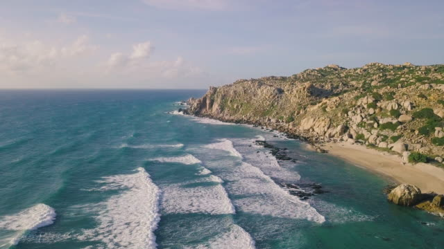 Aerial-view-of-beautiful-tropical-desert-island-beach-from-drone
