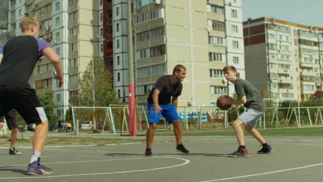 Basketball-player-making-block-shot-during-game