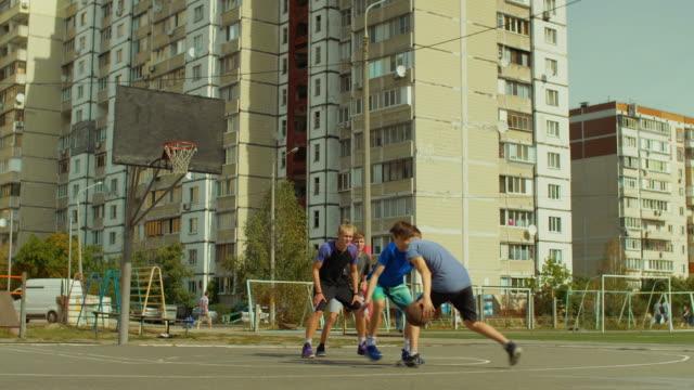 Teen-streetball-players-playing-basketball-game