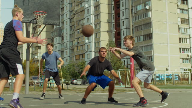 Streetball-player-blocking-shot-from-offensive-player