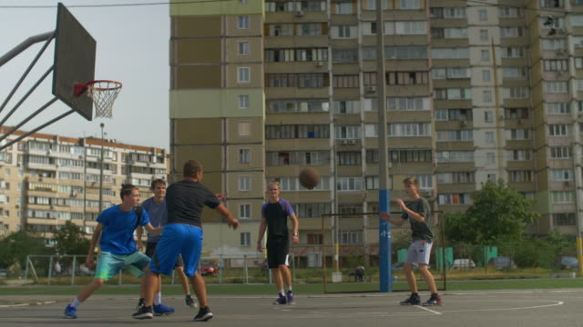 Streetball-player-taking-a-shot-during-basketball-game