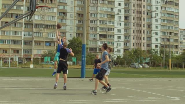 Streetbal-team-scoring-field-goal-after-fast-break