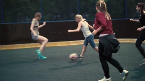 Woman-play-football-Female-soccer-team-in-training-Woman-football