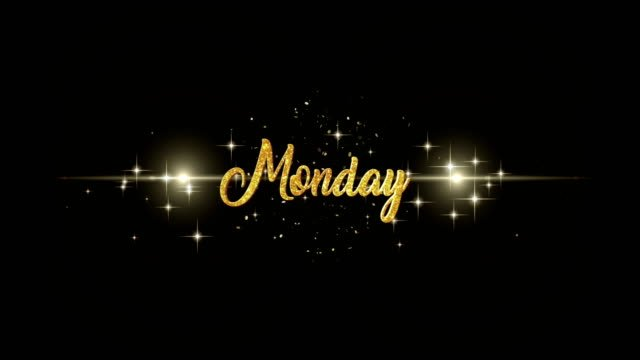Monday-Beautiful-golden-greeting-Text-Appearance-from-blinking-particles-with-golden-fireworks-background-
