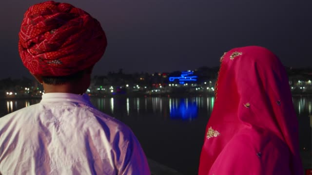 Indian-traditional-couple-looking-at-Pushkar-Lake-in-night