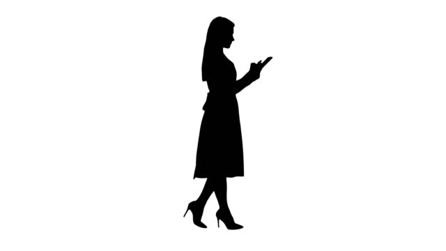 Silhouette-Blonde-in-pink-dress-walking-and-using-tablet