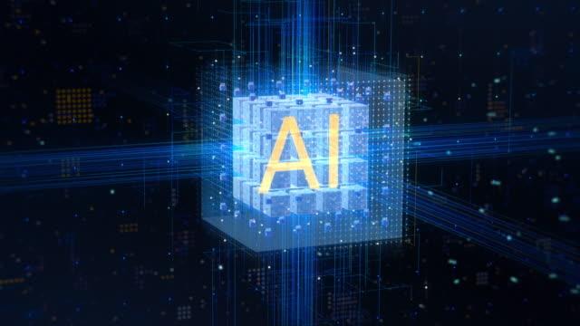 El-concepto-de:-visualización-de-la-Inteligencia-Artificial-que-funcionan-en-el-núcleo-de-computación-con-flujos-de-información-Letras-de-oro-AI-en-el-cubo-