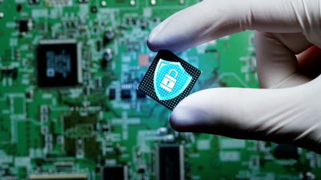 Macro-shot-of-a-chip-futuristic-and-modern-advanced-technology-system-The-circuit-is-used-in-the-computer-processor-and-the-hi-tech-communication-and-business-security-and-information-and-assistance