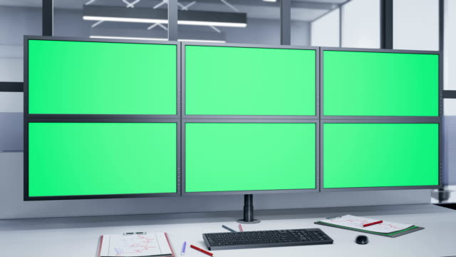 Camera-rotating-near-Multiple-Monitors-with-chroma-key-
