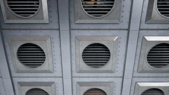 Muchas-unidades-de-ventiladores-ventilación-Industrial-durante-la-rotación-Interior-o-al-aire-libre-refrigeración-o-calefacción-de-proceso-animación-transparente-de-60-fps-
