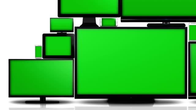 Muchos-tipos-diferentes-de-pantallas-con-pantalla-verde