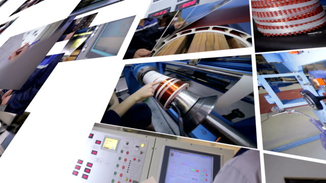Industrial-high-voltage-power-transformer-production-Split--screen-collage-4K-