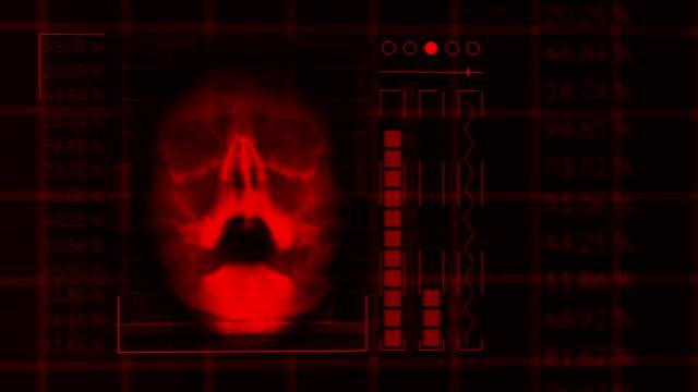 Scan-eines-menschlichen-Schädels-geschlungene-rote-hud-Schnittstelle-Medizintechnik