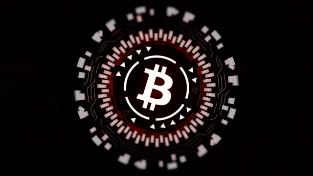 Roten-kreisförmigen-Hologramm-drehen-Bitcoin-Zeichen-im-Zentrum