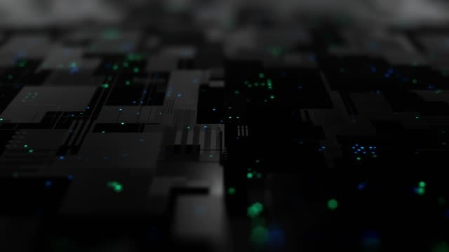 Abstract-high-tech-digital-technology-background-made-of-particles-and-metallic-plates-
