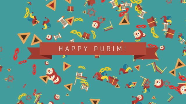 Purim-holiday-flat-design-animation-background-with-traditional-symbols-and-english-text