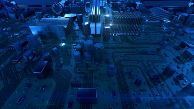 Flying-Over-the-Circuit-Board-Blue-Color-Looped-3d-Animation-of-Motherboard-with-Flares-Technology-and-Digital-Concept-