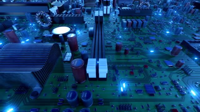Volando-sobre-la-placa-de-circuito-con-señales-azules-y-CPUs-Bucle-de-animación-en-3d-de-la-Motherboard-con-los-procesadores-y-las-llamaradas-Concepto-Digital-y-tecnología-