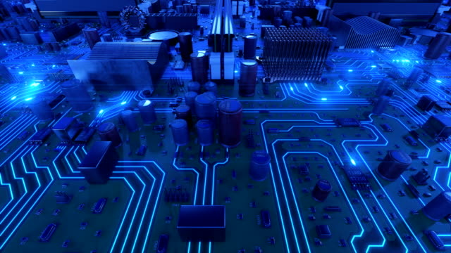 Flying-Over-the-Motherboard-With-Blue-Signals-Looped-3d-Animation-of-Circuit-Board-with-Flares-Technology-and-Digital-Concept-