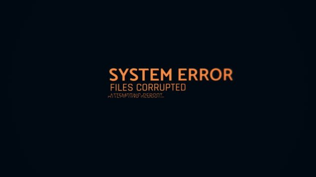 System-error-text-flashing-on-screen-computer-malfunction-hacking-attack