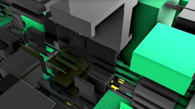 Abstract-3D-rendering-of-surface-with-random-cubes-and-electronic-shapes-