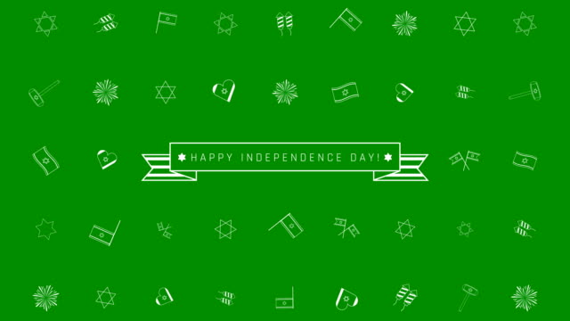 Israel-Independence-Day-holiday-flat-design-animation-background-with-traditional-outline-icon-symbols-and-english-text