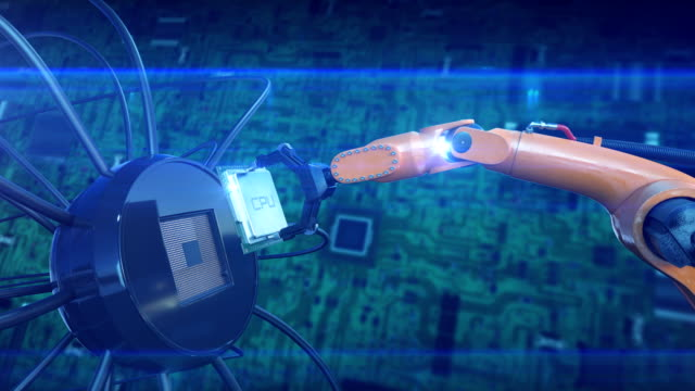Processor-Installation-Process-on-the-Circuit-Board-with-Robotic-Arm-Abstract-3d-Animation-of-Futuristic-Motherboard-with-CPU-Technology-and-Digital-Concept-