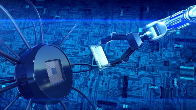 Prozessor-Installation-auf-der-Leiterplatte-mit-Robot-Arms-abstrakt-3d-Animation-des-futuristischen-Motherboard-mit-CPU-Technologie-und-digitale-Konzept-4-k-Ultra-HD-3840-x-2160-
