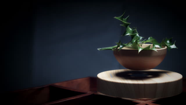 4K-Abstract-Levitation-Platform-with-Plant-on-Black-Background