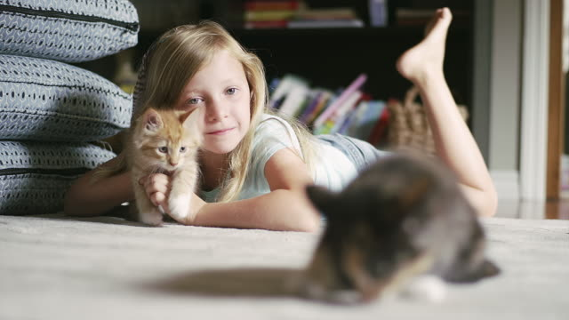 A-little-girl-laying-on-the-floor-holding-a-kitten-and-smiling-with-another-kitten-in-the-foreground