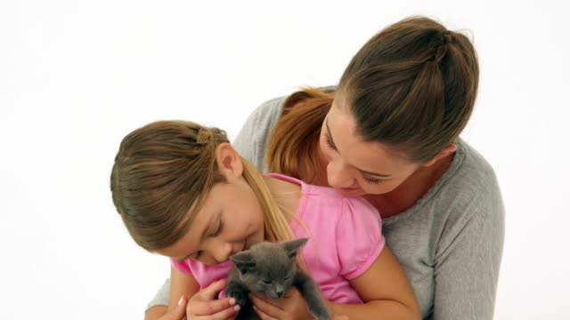 Cute-mother-and-daughter-with-a-little-grey-kitten