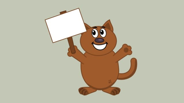smiling-cat-with-a-poster---animation