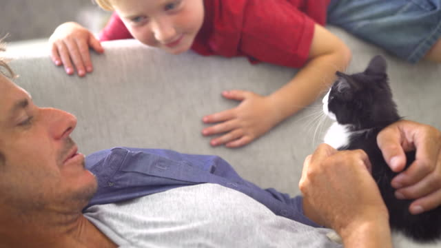 Modern-Dad-Holding-Cat-for-Son-to-Pet-on-Couch