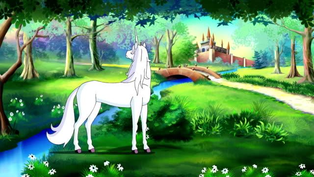 Märchen-Einhorn-in-einem-magischen-Wald-UHD