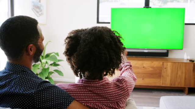 Rear-view-of-young-couple-sitting-on-sofa-at-home-and-watching-television