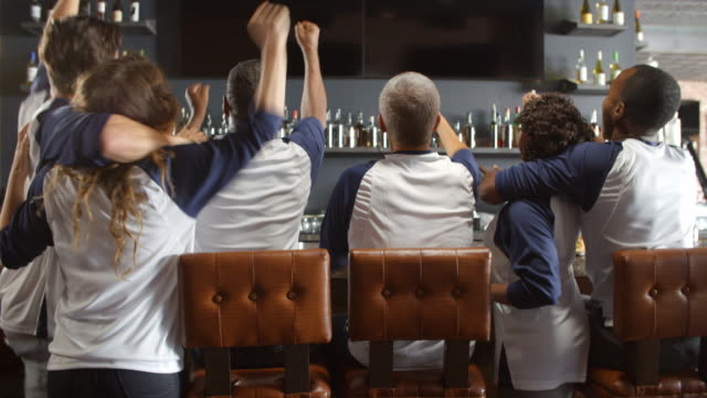Rear-View-Of-Friends-Watching-Game-In-Sports-Bar-Celebrating