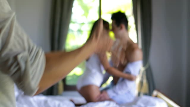 Couple-Betrayal-Woman-Come-To-Bedroom-See-Man-Betray-Her-With-Lover-Girl