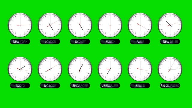 Accurate-Different-Time-Zones-Clocks-On-A-Green-Screen