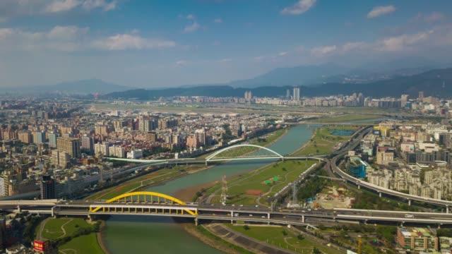 sunny-day-taipei-cityscape-river-bridges-aerial-panorama-4k-timelapse-taiwan