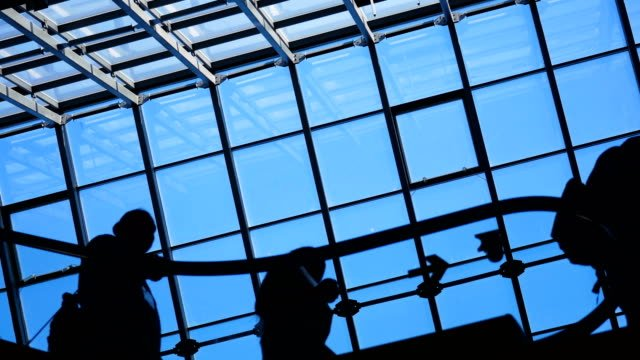 People-silhouettes-on-escalator-moving-in-shopping-center-with-large-windows