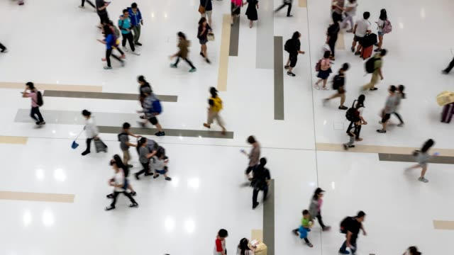 Crowd-Of-Anonymous-Unrecognizable-People-Walking-In-Mall---time-lapse