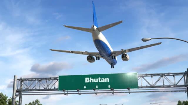 Flugzeug-Landung-Bhutan