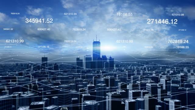Vista-aérea-del-horizonte-de-la-ciudad-con-conexiones-de-red-futurista-y-números-
