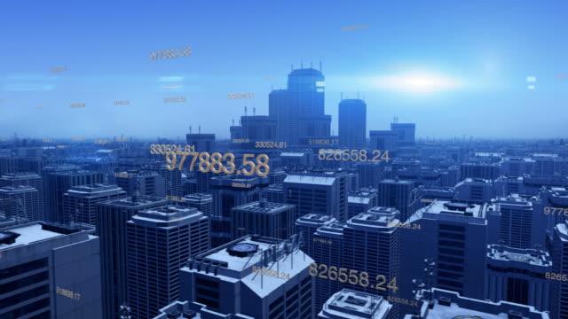Vista-aérea-de-una-ciudad-futurista-con-rascacielos-y-números-
