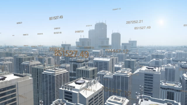 Aerial-view-of-a-futuristic-city-with-skyscrapers-and-numbers-