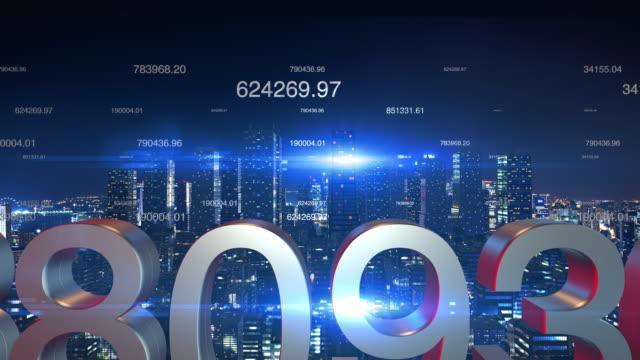 Futuristische-Stadt-Skyline-nachts-mit-fliegenden-Zahlen-