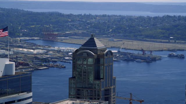 USA-Corporate-Buildings-and-Shipping-Industry-Aerial-Background