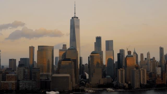 Hyper-lapse-Aerial-Downtown-Manhattan-Golden-Hour-4K
