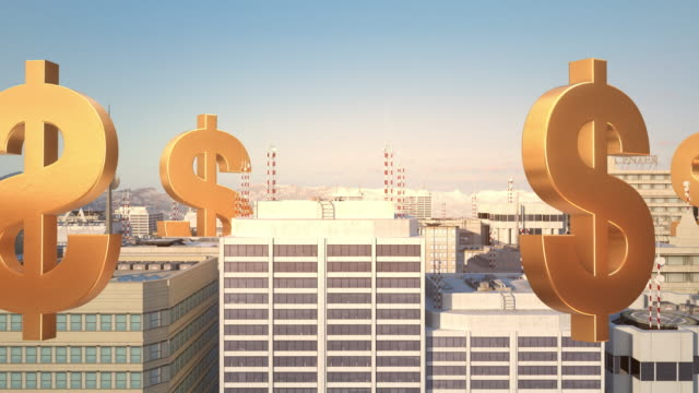 US-Dollar-Sign-In-The-City---Flight-Animation-Over-The-Road
